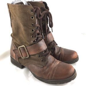 Steve Madden combat boots brown leather Passport